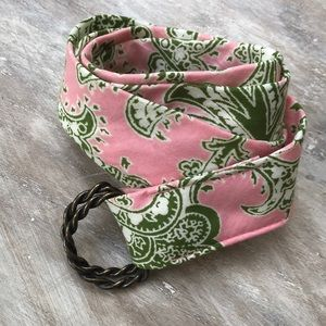 J crew summer Cotton belt pink green brass d ring